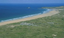 Birdeye view of Beachside Holiday Park and St Ives Bay in Cornwall