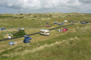 camping pitch overlooking St Ives Bay, Cornwall