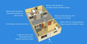 Captioned layout of Chalet Plus accomodation
